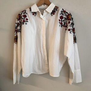 Zara - Embroidered Dolman Sleeve Button Down
